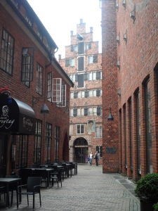 The 16th C Hanse buildings were incorporated into the design