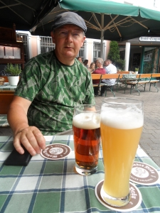 Graham in the seconds before he decided he did indeed like Bamberg's famous smoked beer!