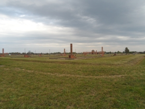 Remains of wooden barracks at Birkenau