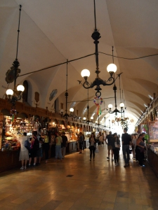 Souvenir stalls fill the ground floor of the cloth hall
