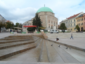 The former mosque dominates the town square